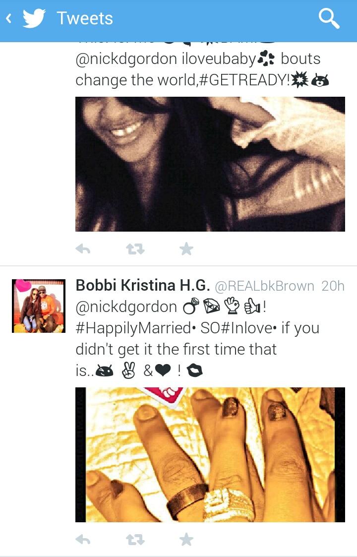 Bobbi Kristina and Nick Gordon Married via twitter