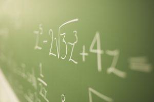 Math problems on chalkboard