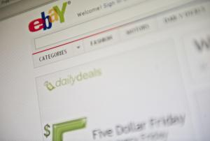 Ebay homepage on a screen in washington