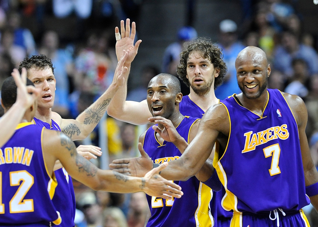DENVER, CO. MAY 29, 2009––Lakers from left, Luke Walton, Kobe Bryant, Pau Gasol and Lamar Odom cele
