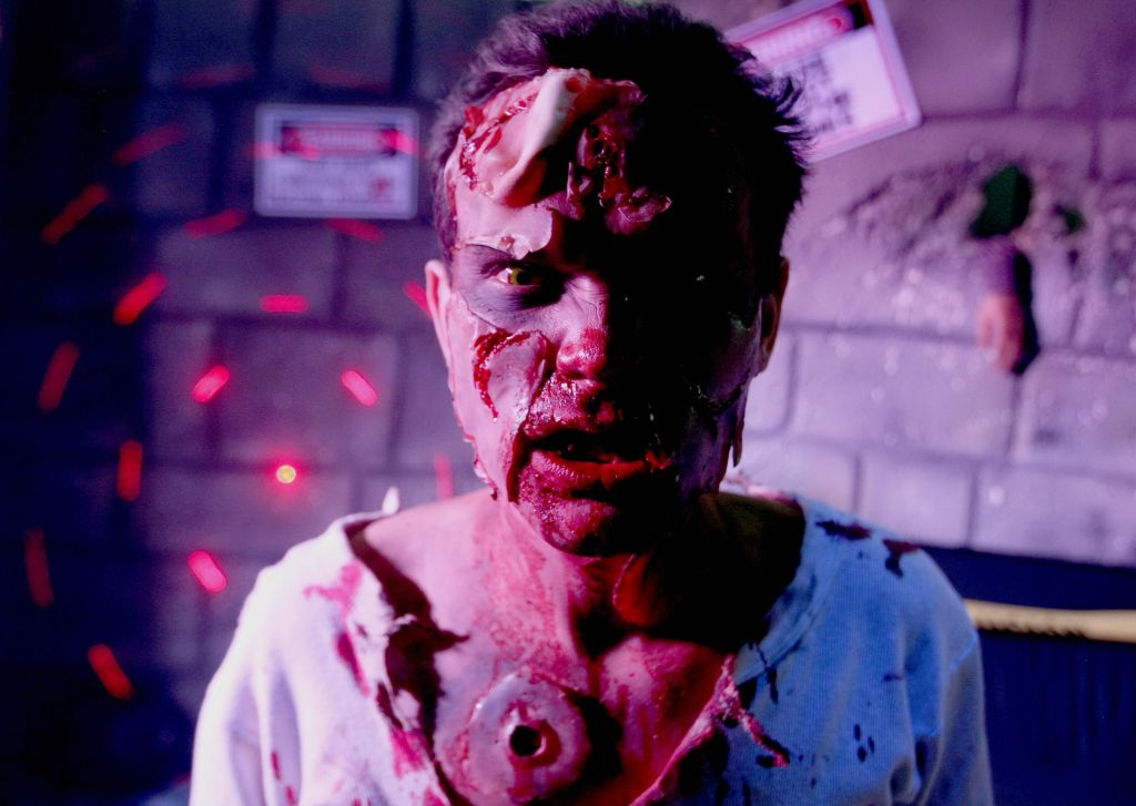 A man particiates in the 2012 Zombie Fes