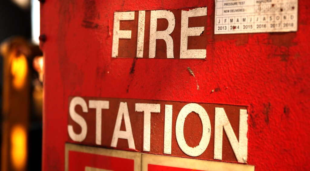 Close-Up Of Fire Station Sign