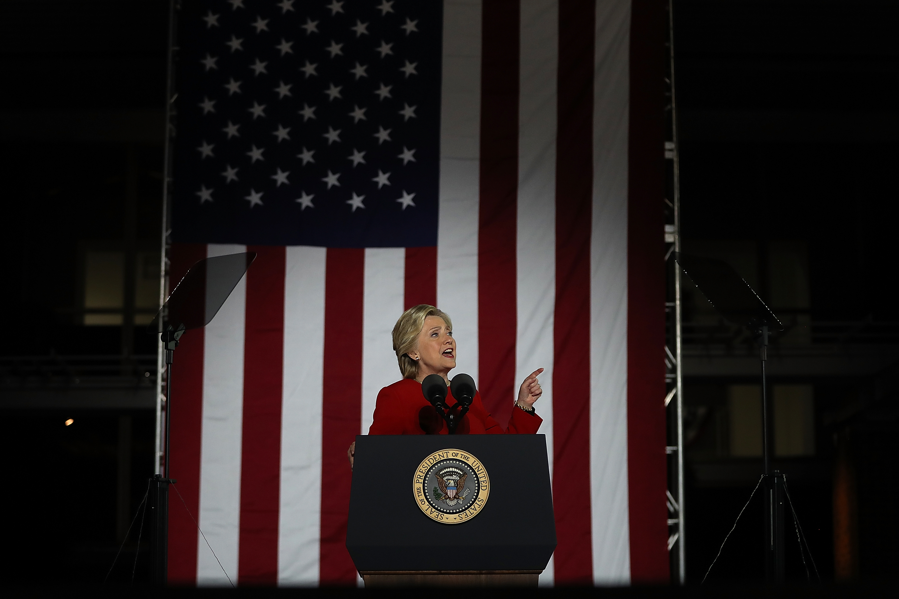 Hillary Clinton Campaigns Across US One Day Ahead Of Presidential Election
