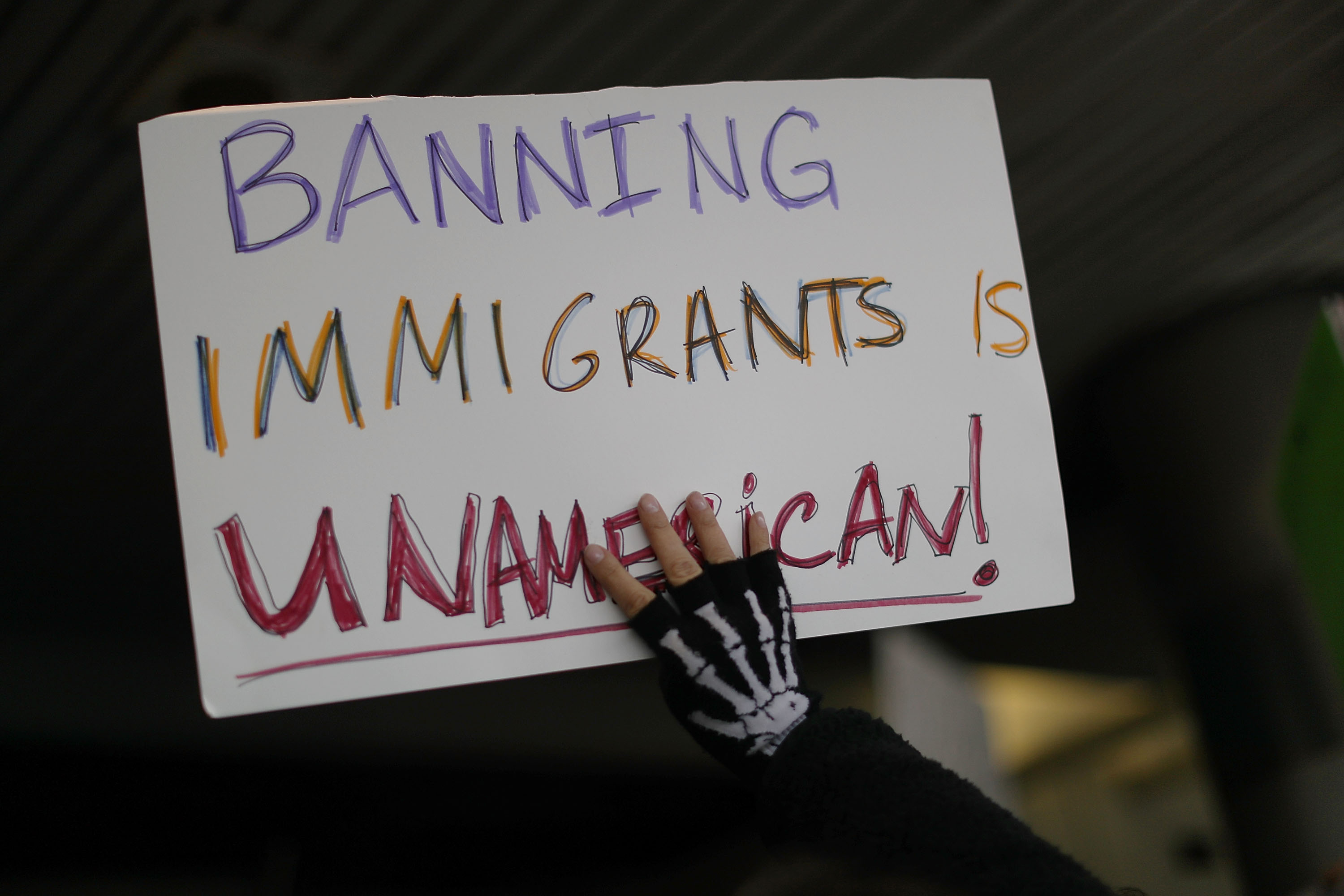 Protestors Rally Against Muslim Immigration Ban At Miami Airport