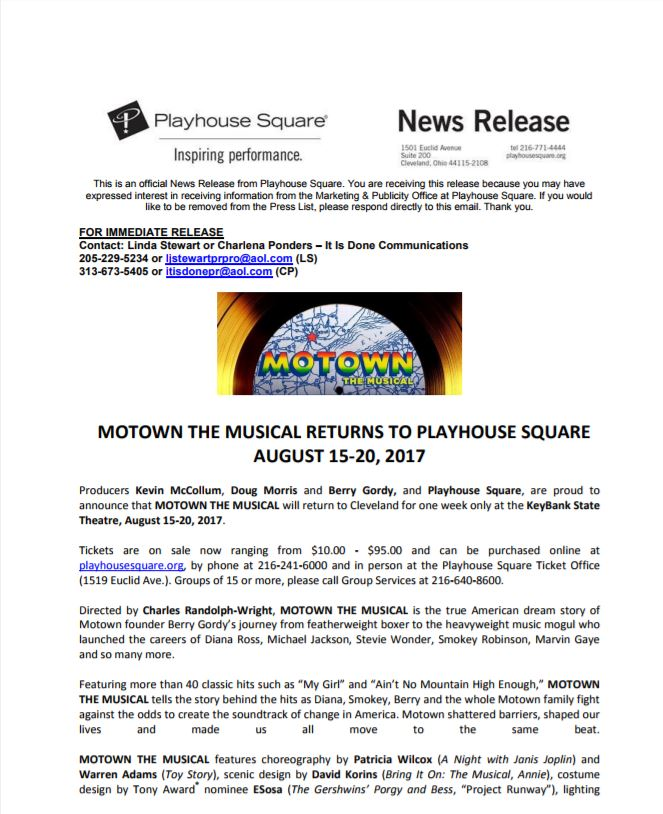 Motown the Musical Press Release