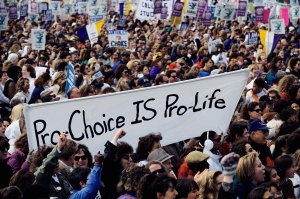 Pro-Choice Crowd Demonstrating at Abortion Rights March