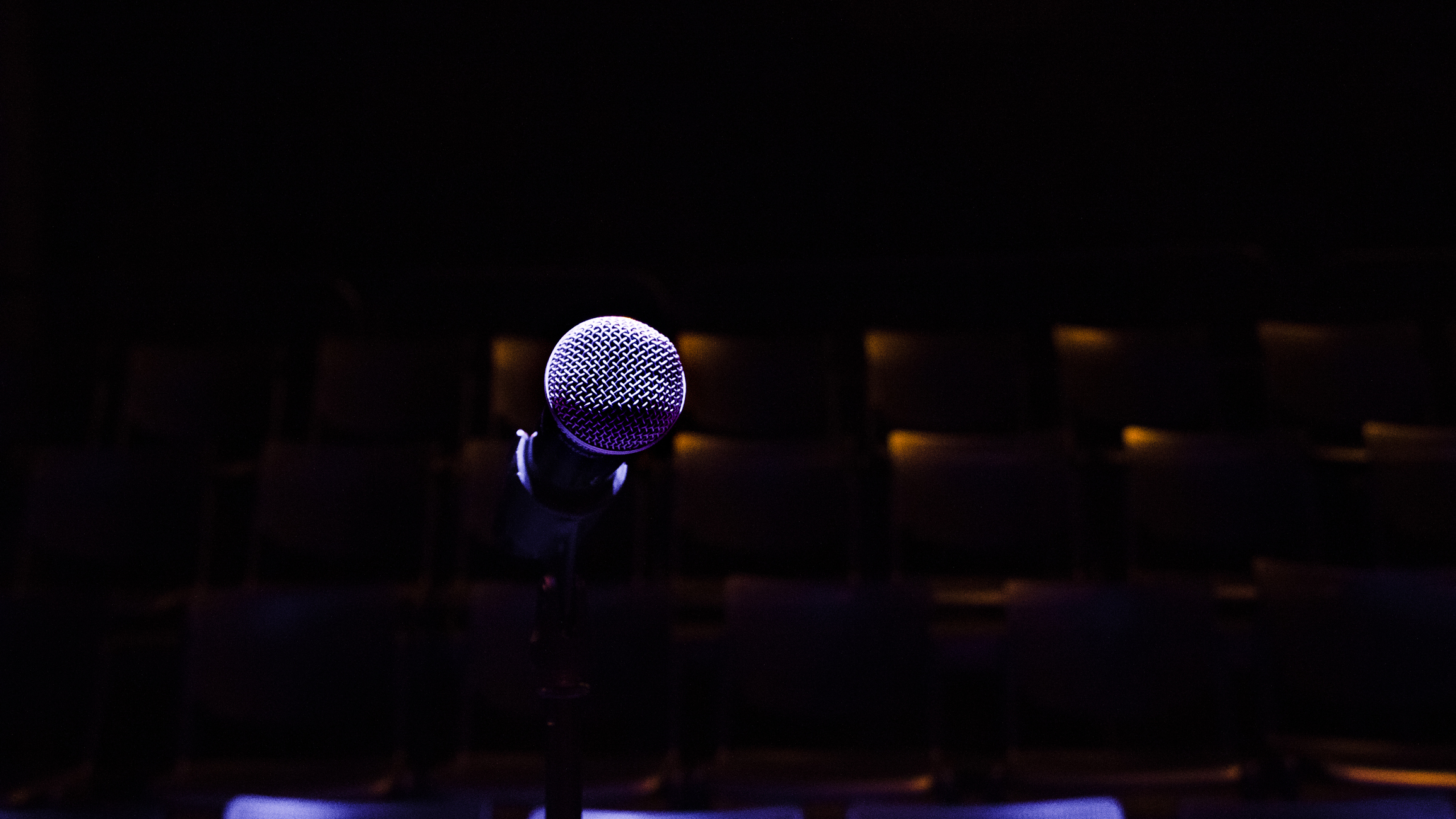 High Angle View Of Microphone On Stage