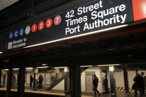 Times Square Station platform sign.