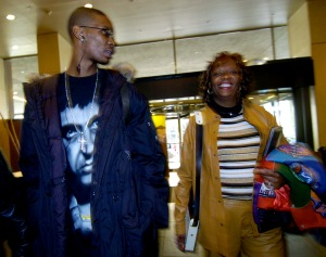 DENVER, COLORADO--FEBRUARY 17, 2005--Chris Bosh of the Toronto Raptors arrives with his mother, Freida , at the Westin Tabor Center hotel on Thursday. Bosh will play in the NBA All-Star rookie game. Participants and support personel began arriving fo
