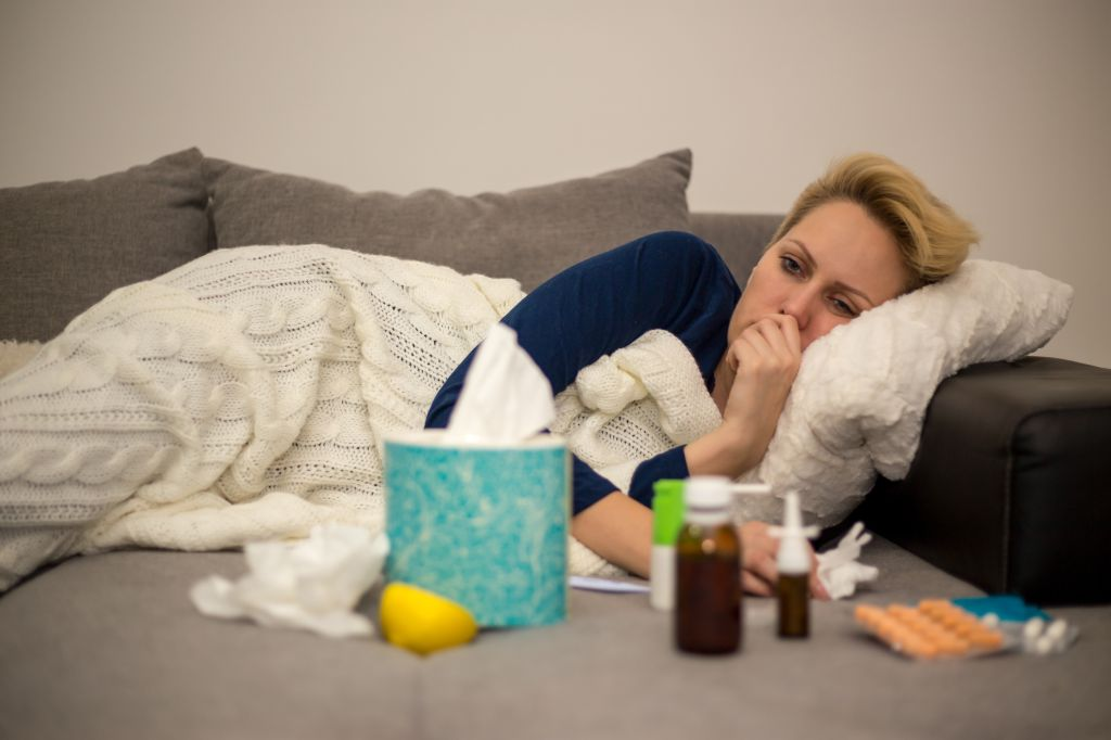 Sick Woman.Flu.Woman Caught Cold.