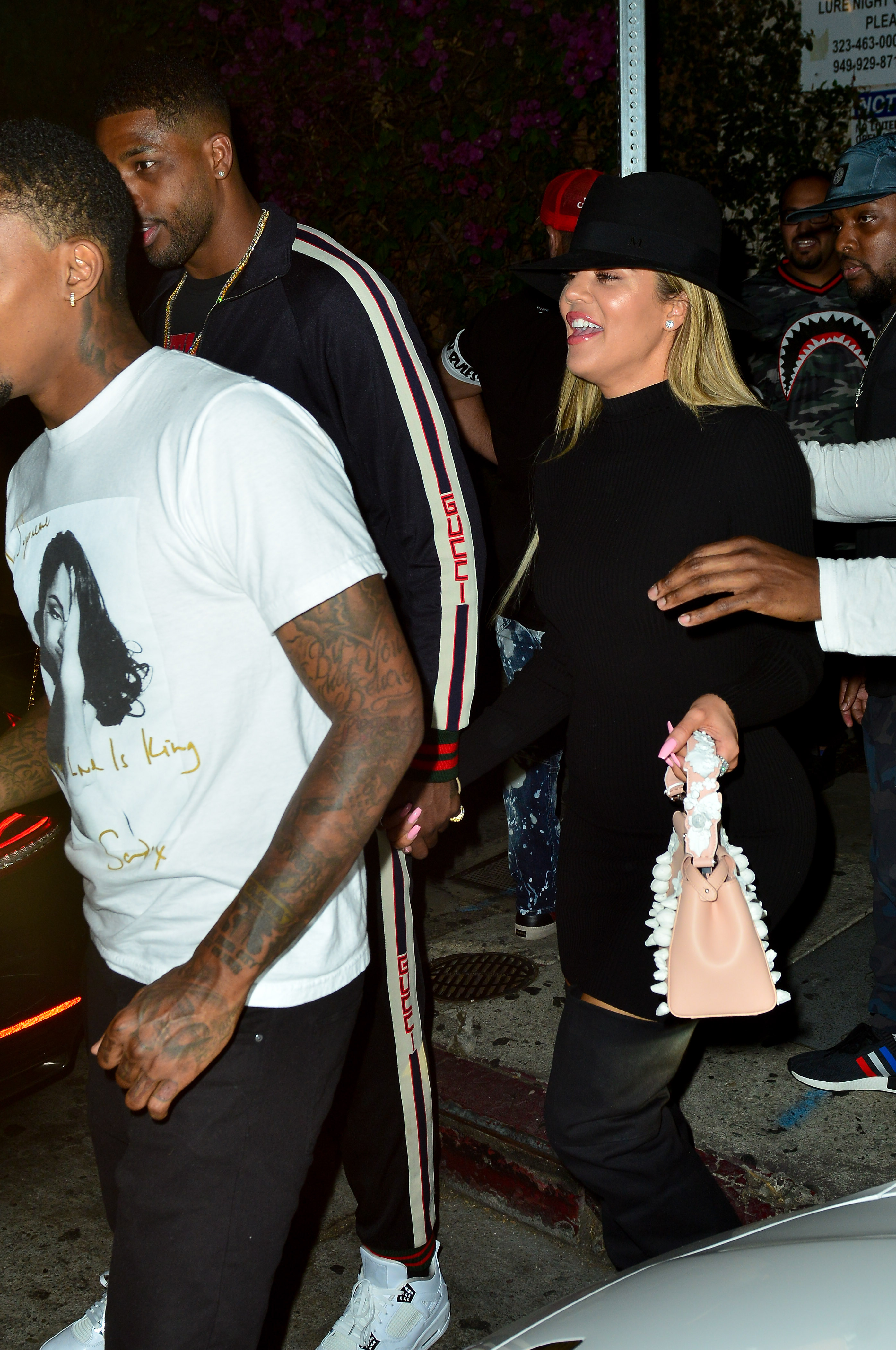 Khloe Kardashian and boyfriend Tristan Thompson leaving Lure Night Club