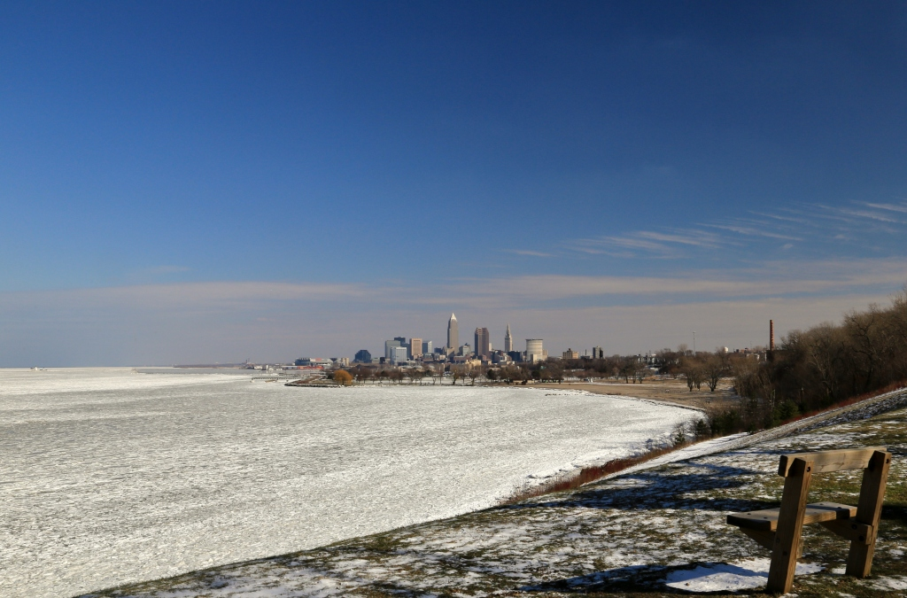 Cleveland city on the frozen Lake Erie shore