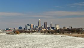 Cleveland skyline on the frozen Lake Erie shore