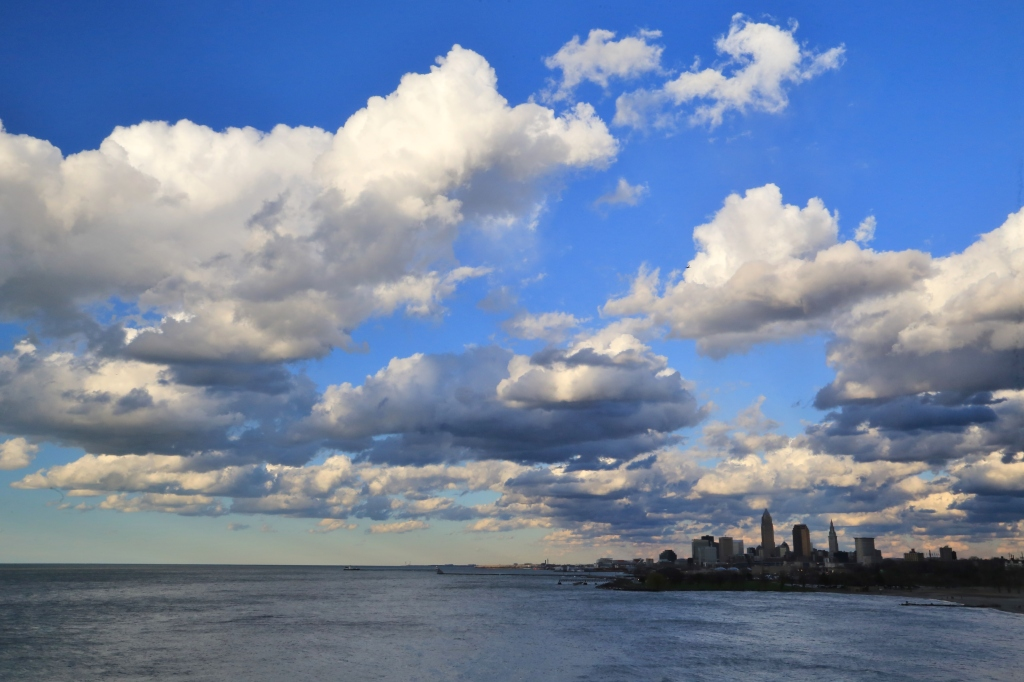 Clouds over Lake Erie with the Cleveland city skyline in he background