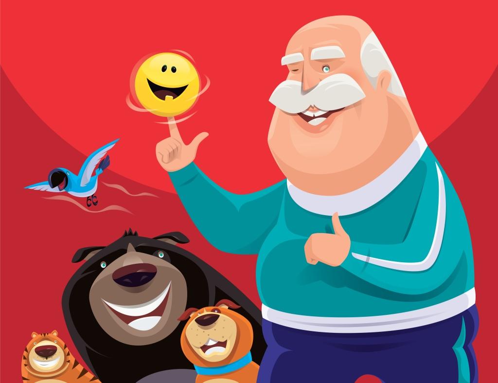 senior man spinning happy emoji