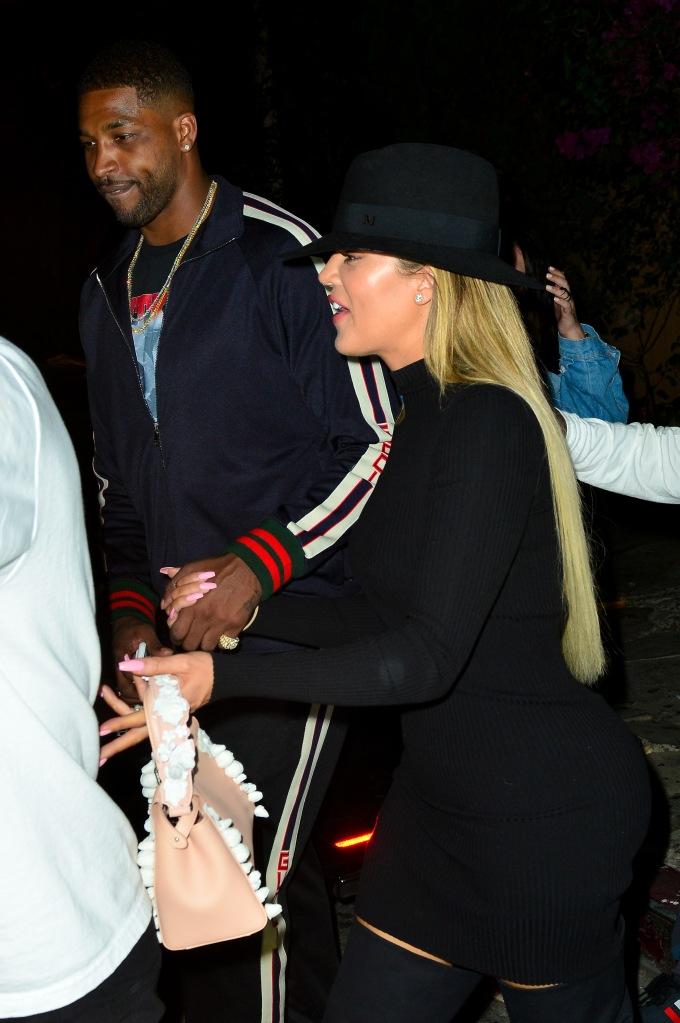 Khloe Kardashian and boyfriend Tristan Thompson leaving Lure Night Club