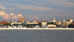 Sandusky city skyline from Lake Erie