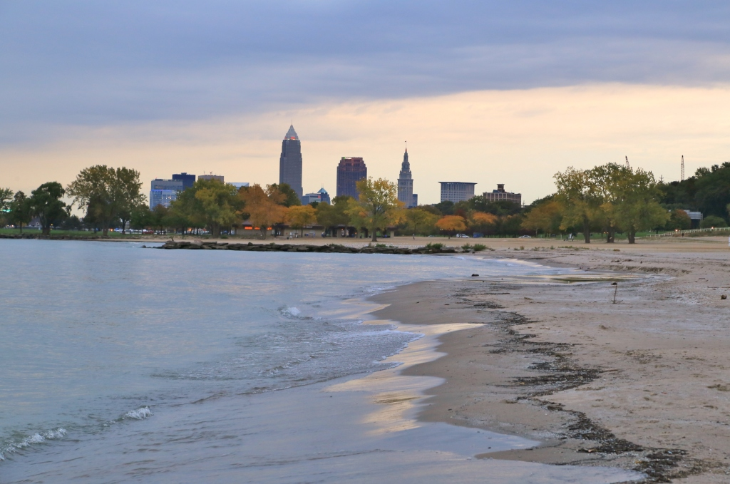 Cleveland skyline from the Lake Erie beach