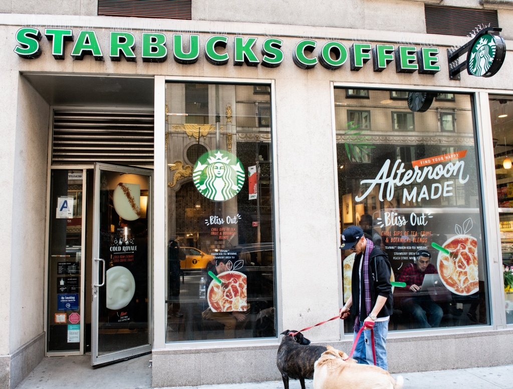 Starbucks coffee shop in New York City...