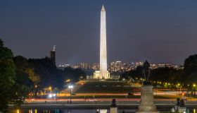 The Washington Monument and National Mall at night viewed from Capitol Hill in Washington DC