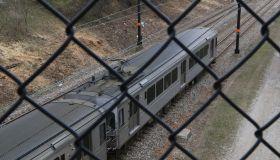 Public transit train seen through overpass , Cleveland, Ohio, USA