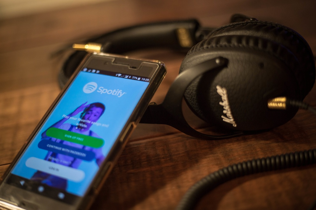 The Spotify application seen displayed on a Sony smartphone...