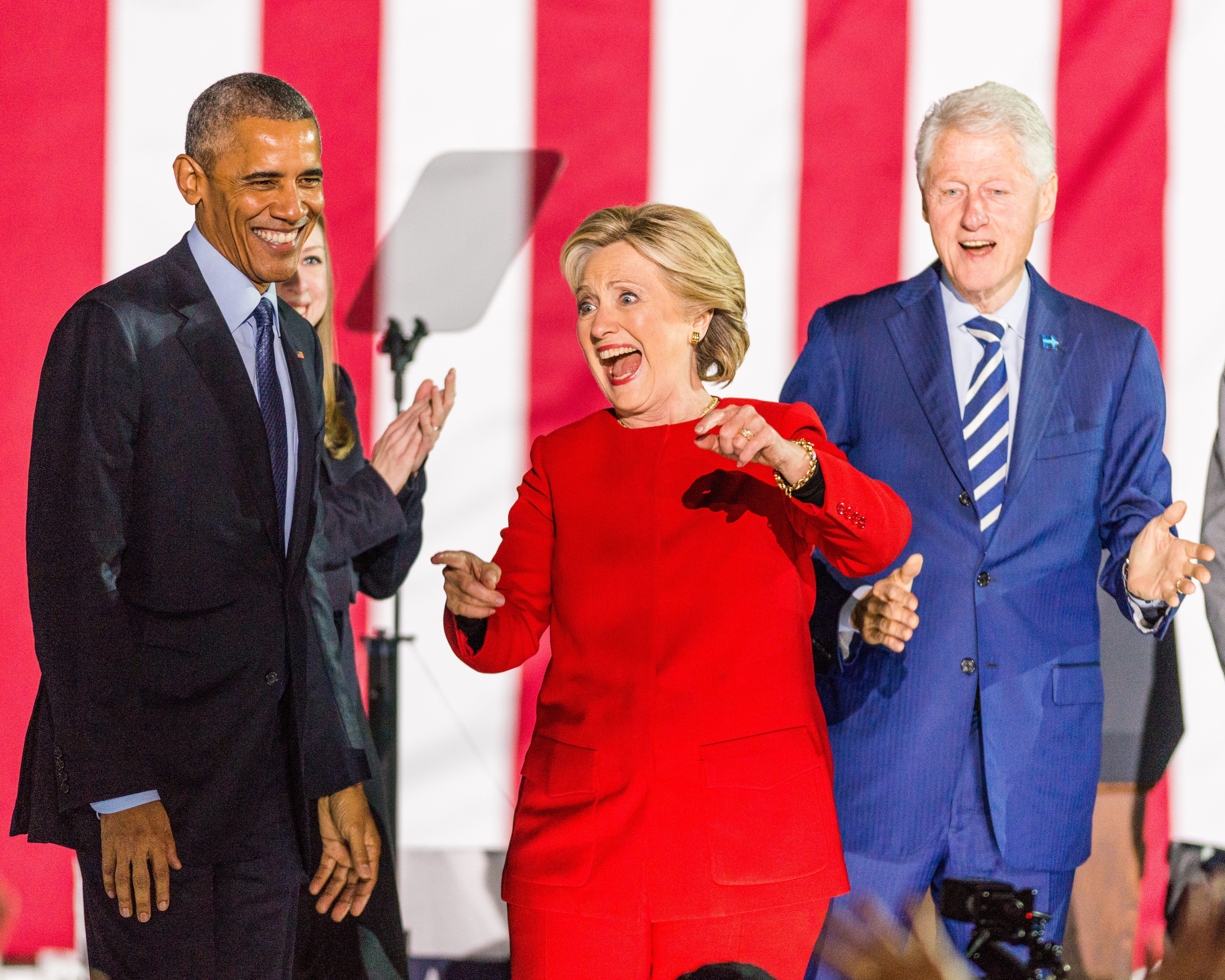 President Barack Obama, Hillary and Bill Clinton at a...