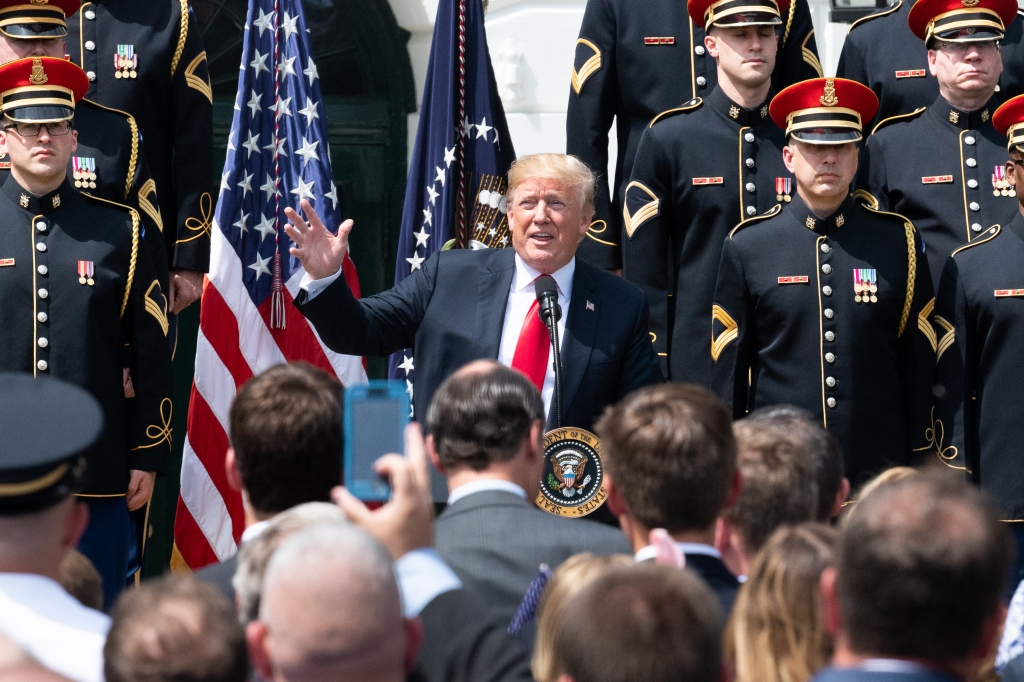 President Donald Trump hosting a celebration of the American...
