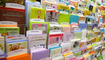 Greeting cards for sale in Publix, grocery store.
