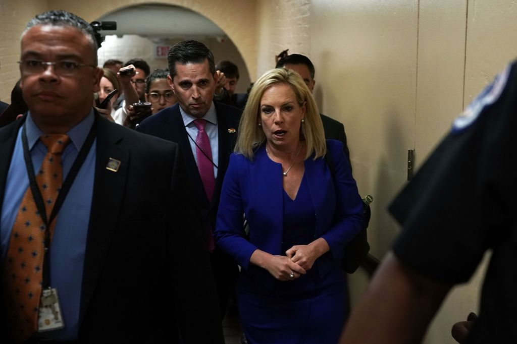 Homeland Security Secretary Kirstjen Nielsen Leaves Meeting With House Republicans On Capitol Hill