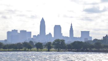 Summer haze over the Cleveland skyline