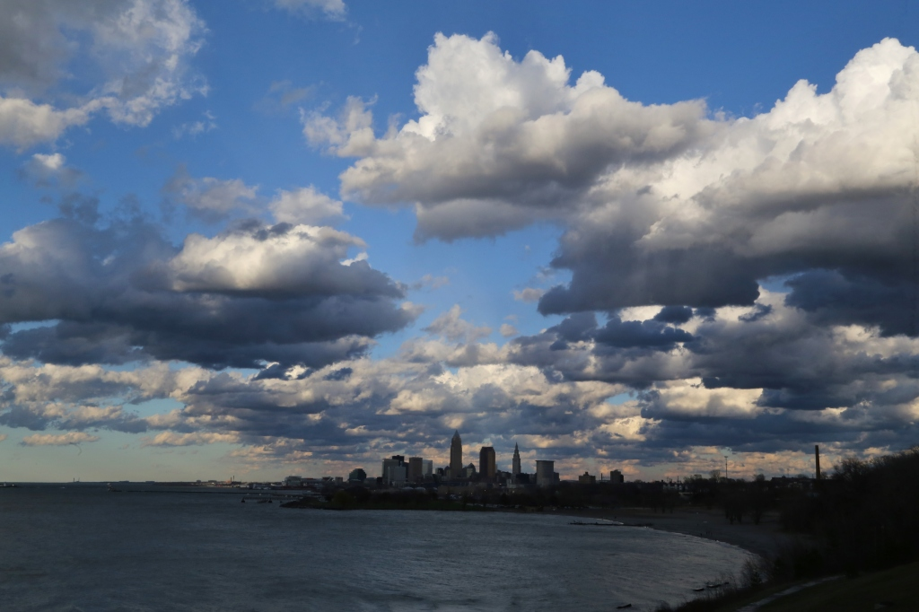 Puffy clouds over Lake Erie and the Downtown Skyline