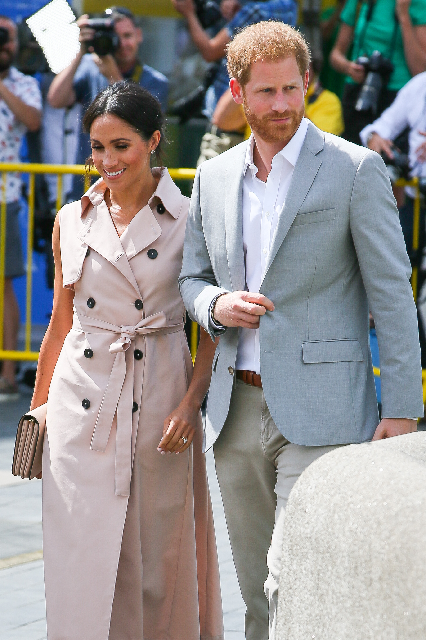 Duke and Duchess of Sussex Harry and Meghan arriving at Southbank Centre to visit the Nelson Mandela Centenary Exhibition - London