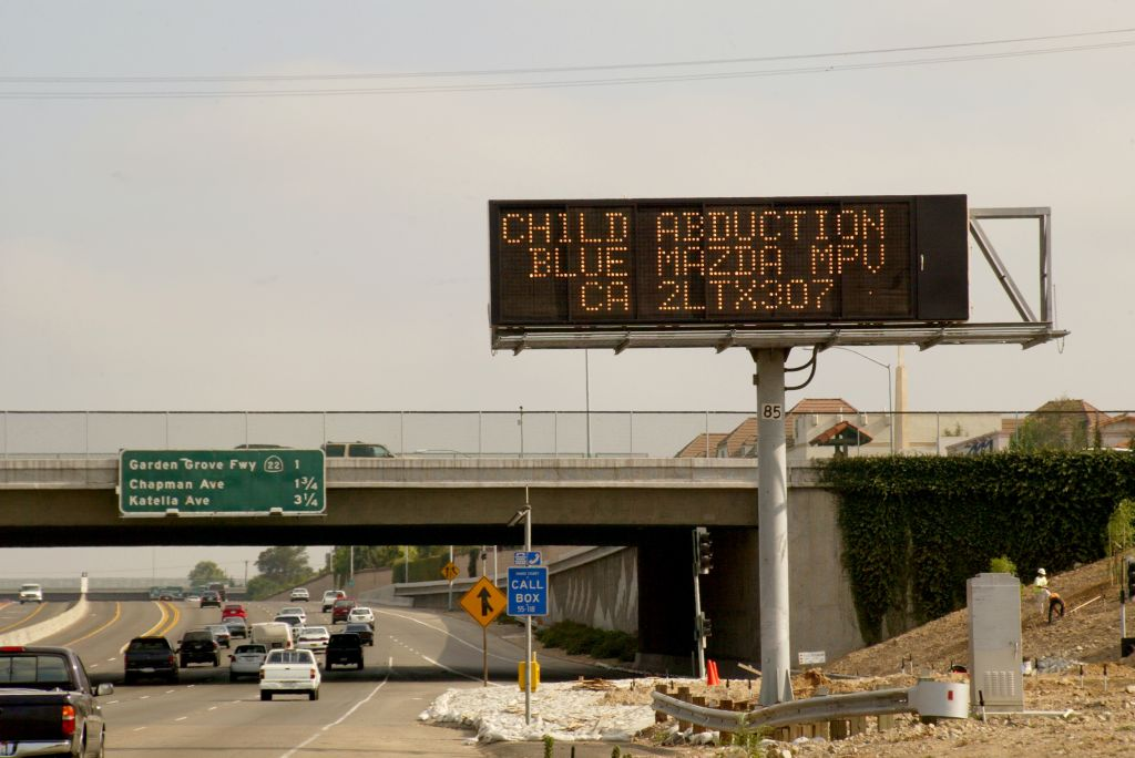Amber alert sign on freeway of a child abduction