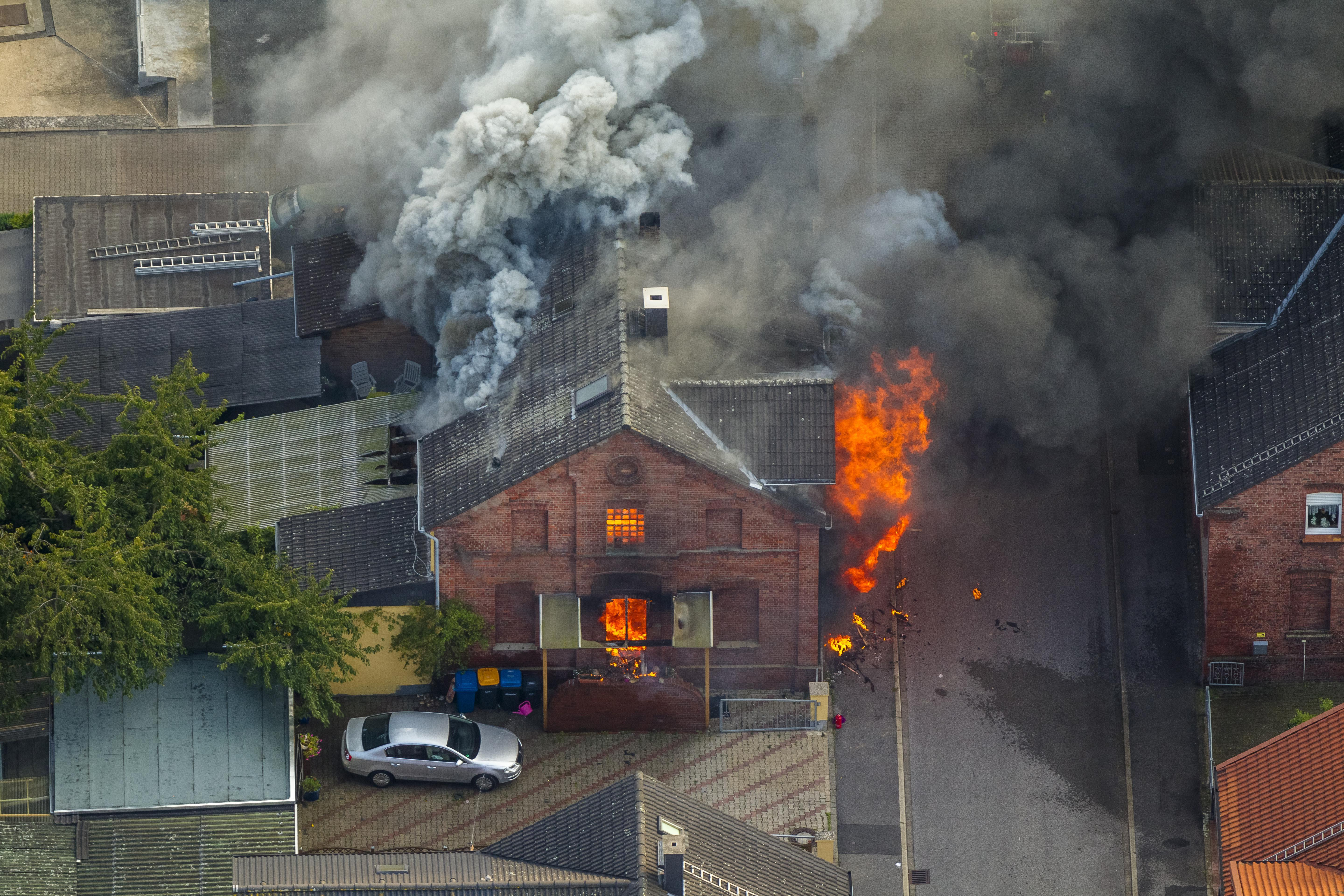 Fire in a pithead building, Gustavstrasse street, aerial, Boenen, Ruhr district, North Rhine-Westphalia, Germany