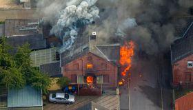 Fire in a pithead building, Gustavstrasse street, aerial, Boenen, Ruhr district, North Rhine-Westphalia, Germany