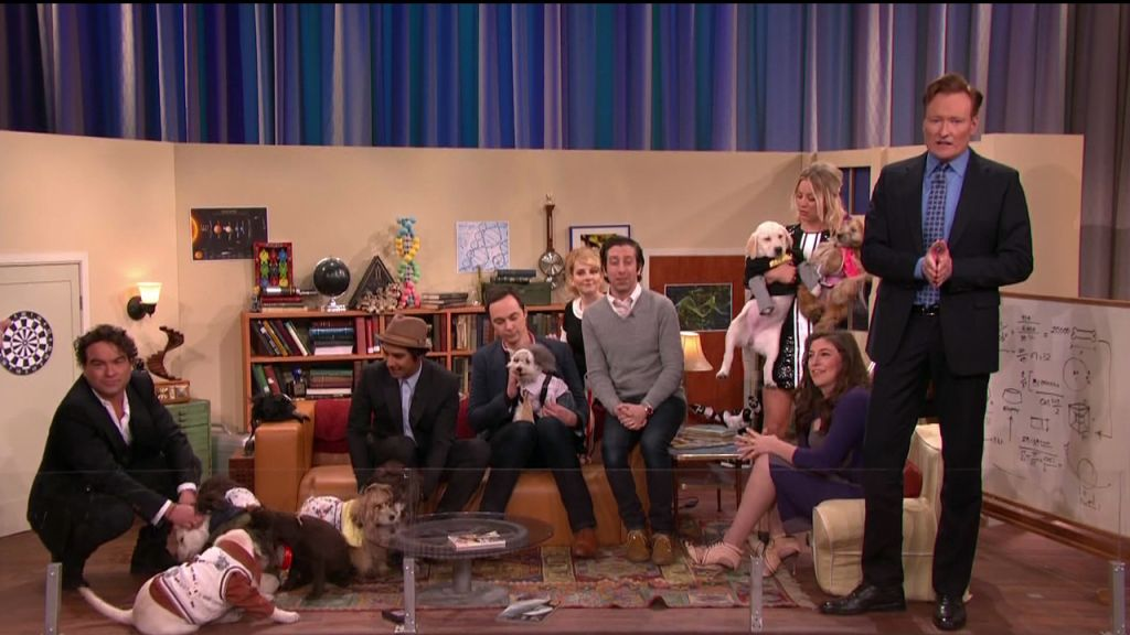 The Big Bang Theory cast during an appearance on TBS's 'Conan.'