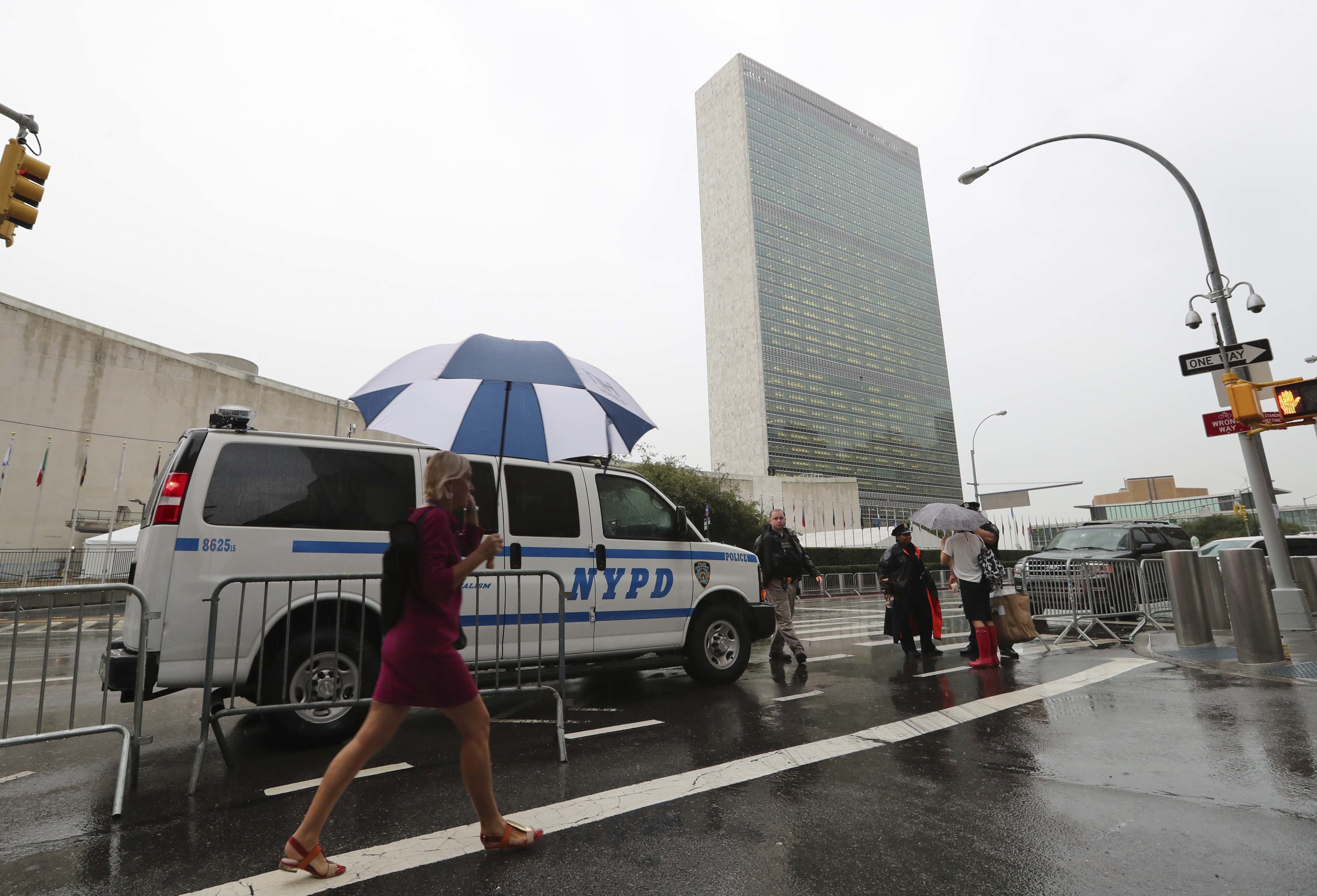 A police vehicle is seen on a street near the United Nations headquarters in New York City