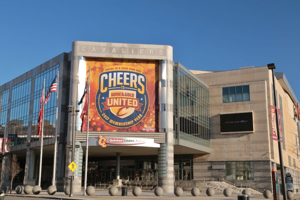 Front entrance at Quicken Loans Arena, Cleveland, Ohio, USA