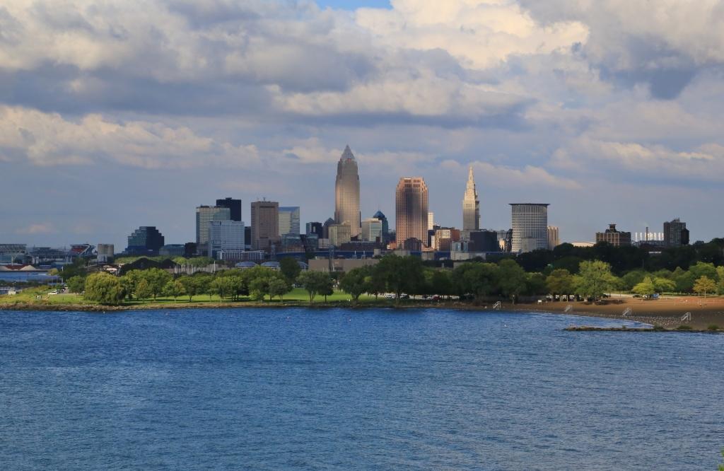 Cleveland skyline on the Lake Erie shore