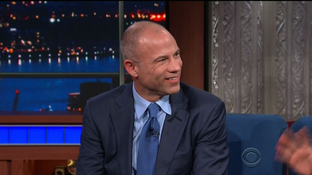 Anthony Scaramucci and Michael Avenatti during an appearance on CBS' 'The Late Show with Stephen Colbert.'