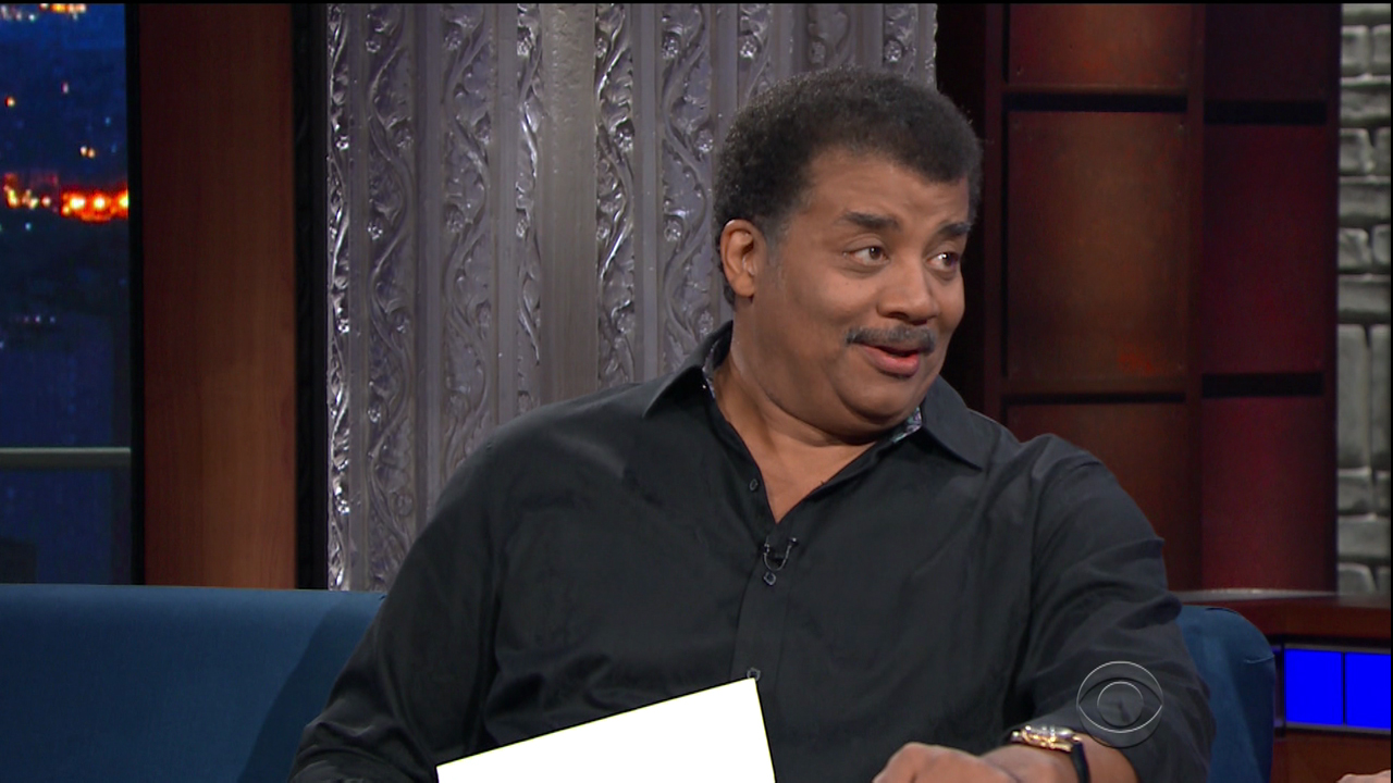 Neil DeGrasse Tyson during an appearance on CBS' 'The Late Show with Stephen Colbert.'