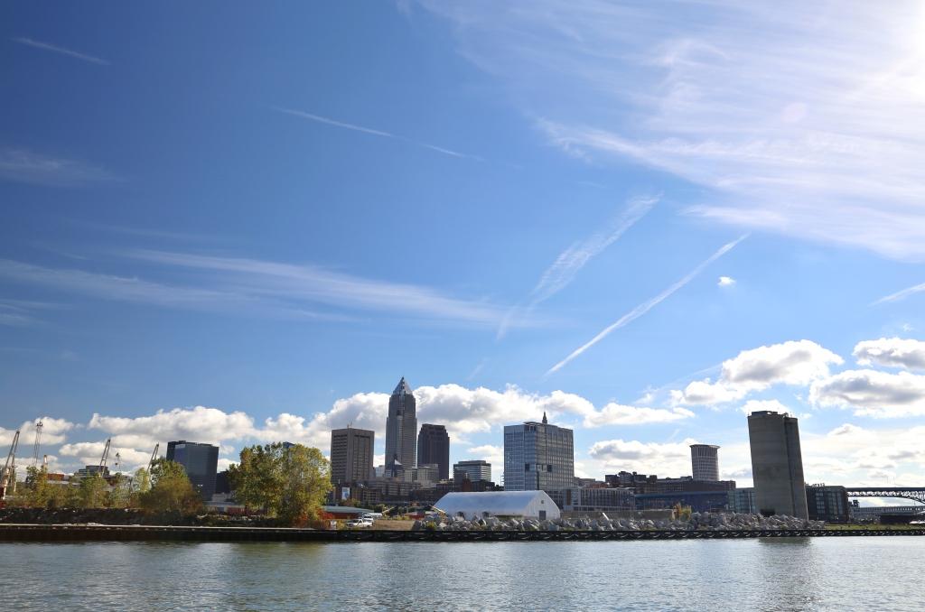 Sun glare over Cleveland skyline