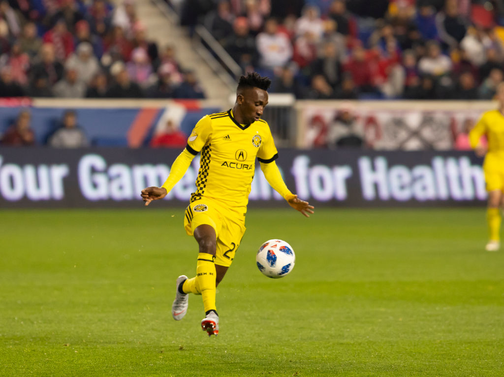 Harrison Afful (25) of Columbus Crew SC controls ball during...
