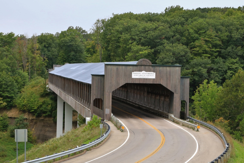 Famous Smolen–Gulf Covered Bridge, Ashtabula, Ohio, USA