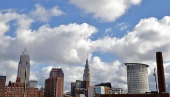 Spring time sky over Cleveland skyline