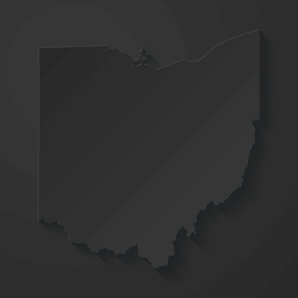 Ohio map with paper cut effect on black background