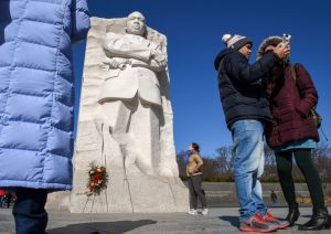 Visitors to the Martin Luther King Memorial in anticipation of the upcoming holiday in Washington, DC.