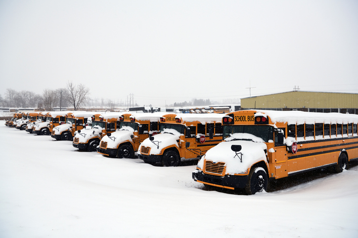 School bus and snow weather at Rugby, North Dakota, USA