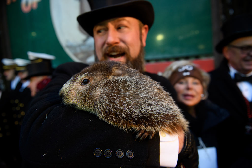 'Punxsutawney Phil' Looks For His Shadow At Annual Groundhog Day Ritual In PA